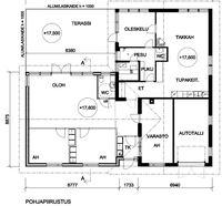 Yläkerta (asuintilat ja autotalli)