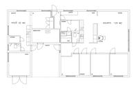 Pohjapiirros: 32 m2 yksiö vasemmalla, 120 m2 perheasunto oikealla.