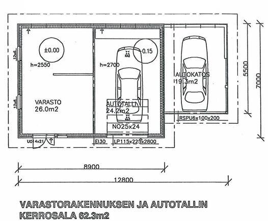 Autotallirakennuksen suuntaa antava pohjakuva