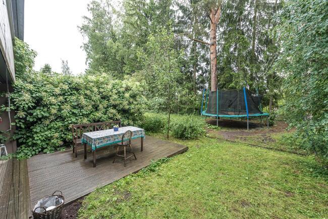 Suojaisalle piha-alueelle mahtuu isokin trampoli...