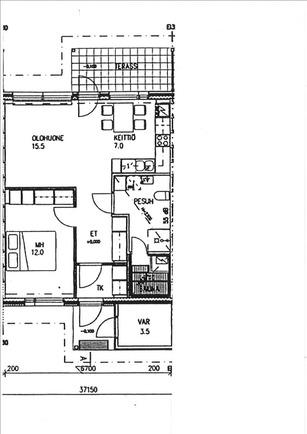 Aliinintie 8 A 3 huoneiston ohjeellinen pohjakuv...
