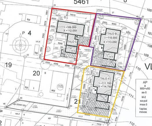 Talo A:n hallinta-alue merkitty karttaan oranssi...
