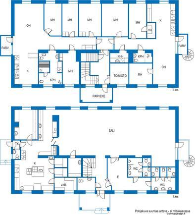 Pohjakuva huoneisto 1 ja 2, sekä alakerta