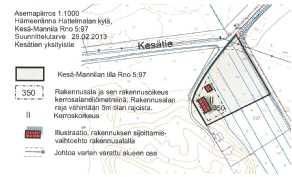 Suunnittelutarveratkaisun asemapiirros, tarkentuu rakennusluvassa