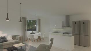 Havainnekuva keittiöstä ja olohuoneesta