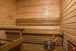 Saunassa sähkökiuas ja hyväkuntoisen lauteet/paneelit.