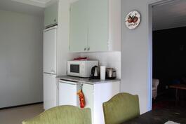 Keittiössä jääviileäkaappi ja pieni erillinen pakastin.
