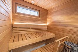 Sauna. Kuva vastaavasta jo valmistuneesta asunnosta.