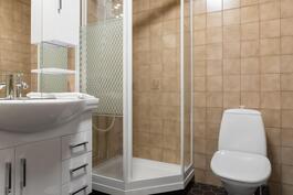 Erillinen wc, jossa myös suihkutilat