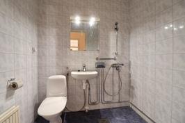 Kylpyhuone jossa myös wc istuin