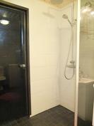 Pesuhuoneen suihkunurkkaus ja lasiovi saunaan