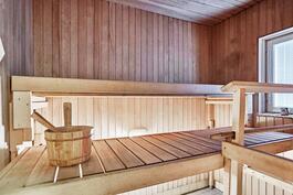 Alakerran sauna, jonka yhteydessä on pesuhuone