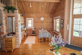 Kuva olohuoneesta keittiöön