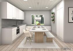 3 D havainnekuva;  sisustussuunnittelijan  näkemys keittiöstä