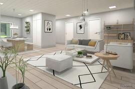 3 D havainnekuva; sisustussuunnittelijan näkemys olohuoneesta