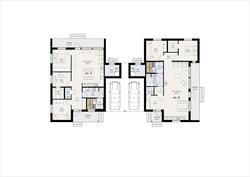 Pohjaratkaisu muokattavissa tarpeen mukaan kahdelle tai kolmelle makuuhuoneelle.