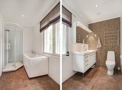 Päämakuuhuoneen yhteydessä oleva kylpyhuone/ Badrummet i samband med master bedroom