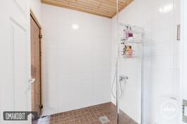 Alakerran pesuhuoneessa suihkuseinä ja wc