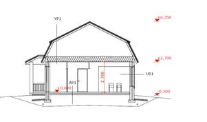 Rakentamattoman erillistalon (104 m2) läpileikkauskuva.