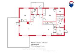 Rakentamattoman erillistalon (104 m2) piirustus. Rakennuslupa on voimassa.