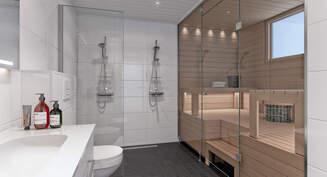 Tarjolla upeita perheasuntoja. Visualisointi A15 kylpyhuoneesta.
