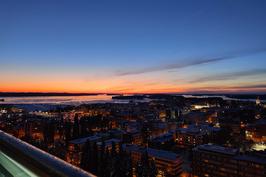Kaunis aamumaisema Aseman Väylän kattoterassilta.