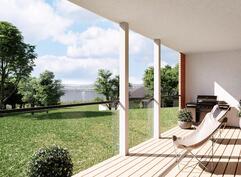 Havainnekuva mahdollisen uuden talon terassilta.
