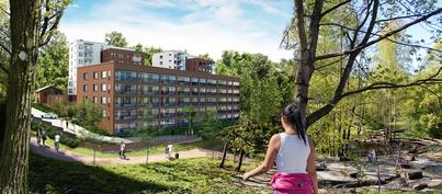 Taiteilijan näkemys korttelista Strömbergin kosken suunnalta