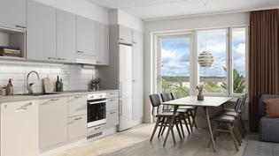 Visualisointikuvassa taiteilijan näkemys asunnon A66 keittiötilasta