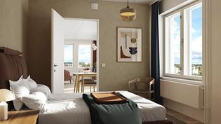 Visualisointikuvassa taiteilijan näkemys asunnon A70 makuuhuoneesta