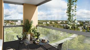 Visualisointikuvassa taiteilijan näkemys asunnon A67 näkymistä
