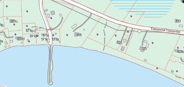 Tontti 2,092 ha, josta rantakaistele yhteisaluetta