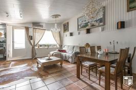 Kaksitasoisen asunnon olohuone, josta käynti parvekkeelle