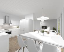 Havainnollinen kuva: Keittiö ja olohuone