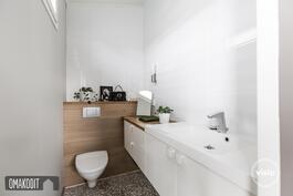 Päämakuuhuoneessa oma wc 2,7m², ikkuna