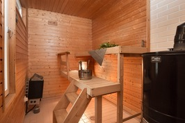 Saunassa sekä sähkö- että puukiuas