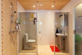 toinen alakerran wc:stä erotettu lasiseinällä