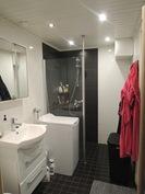 Kylpyhuone on siisti ja tyylikäs