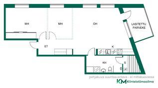 2D pohjakuva, katkoviivat kertovat lisähuoneiden sijainnit, toteuta unelmasi!