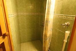 Kylpyhuone on saunan yhteydessä, siellä myös pesukonepaikka (45 cm pesukoneelle)