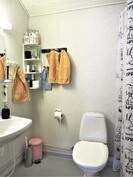 Yläkerran erillisessä wc:ssä on myös suihku.