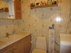 Kuvassa tilava asiallinen wc, jossa myös pesukoneliitäntä.