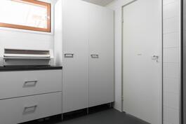 Pesuhuoneessa hyvin tilaa myös kodinhoidolle