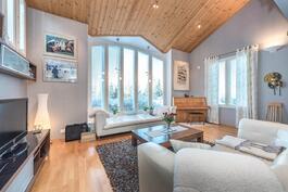 Olohuoneen erkkerissä korkeat ikkunat.