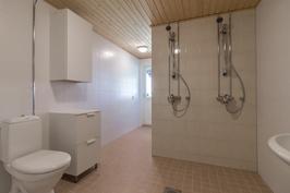 Isossa kylpyhuoneessa kodin toinen wc sekä käynti takapihalle