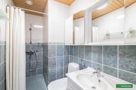 Yläkerran kylpyhuoneessa myös suihku