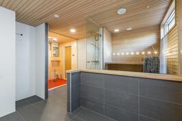 Näkymä uudistettuun upeaan oleskelutila/pukeutumistila/pesutila/sauna -kokonaisuuteen