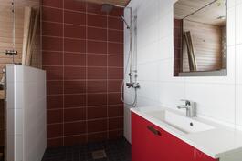 Kylpyhuone, kohteessa asukkaan oma valintainen väritys (kuva aiemmin valmistuneesta talosta)