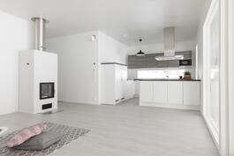 Keittiö ja olohuone yhtä avointa tilaa(Kuva aiemmin valmistuneesta talosta)