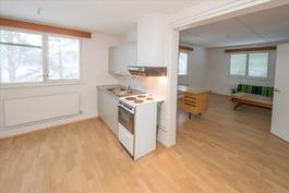 Talousrakennuksen asunto - keittiö ja olohuone